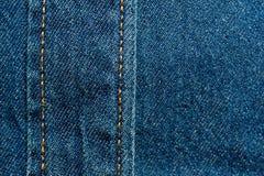 被构造的蓝色牛仔布纹理缝了与按钮纹理 库存图片