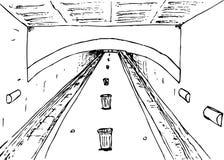被概述的普通地铁平台 皇族释放例证