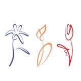 被概述的花收藏 免版税图库摄影