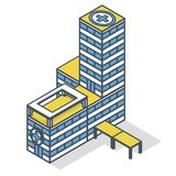 被概述的诊所医院,医疗等量大厦例证 向量例证