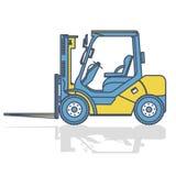 被概述的铲车装载者在白色的存贮运作 背景建筑挖掘机查出的机械对象白色 皇族释放例证