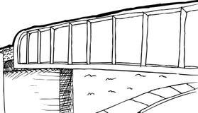 被概述的高架桥和街道背景 向量例证