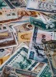 被毁坏的人民币和NT钞票 库存图片