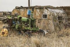 被毁坏的住宅拖车 库存图片