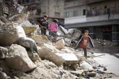 被毁坏的修造的阿勒颇。 免版税库存图片