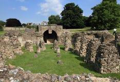 被毁坏的坎特伯雷修道院在英国 免版税库存照片