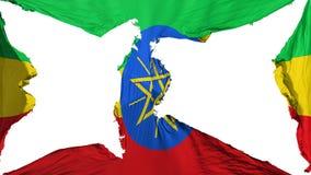 被毁坏的埃塞俄比亚旗子 库存例证