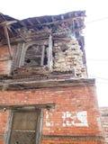 被毁坏的大厦在加德满都 免版税库存照片