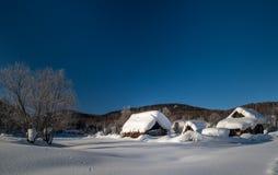 被毁坏的小屋在冬天 免版税图库摄影