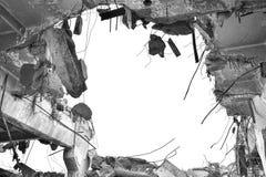 被毁坏的工厂厂房的遗骸 黑白图象 库存照片