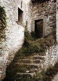 被毁坏的房子台阶葡萄酒 免版税图库摄影