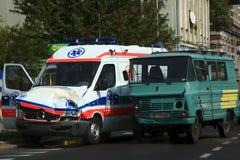 被毁坏的救护车 免版税库存图片