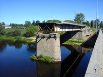 被毁坏的桥梁 免版税库存图片
