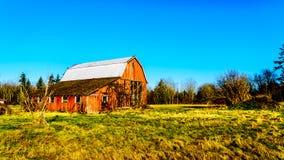 被毁坏的老红色谷仓在坎伯谷地方公园在Langley乡  免版税库存照片