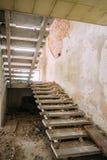 被毁坏的被放弃的议院在切尔诺贝利中 免版税库存图片