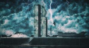 被毁坏的巴西利亚|巴西人的国会大厦废墟的 库存图片