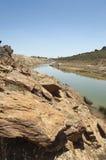 被污染的河 免版税库存照片