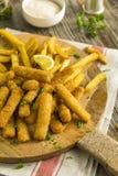 被油炸的炸鱼排用炸薯条 免版税库存照片