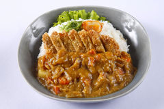 被油炸的猪肉用米和咖喱汁在日本式- Tonkatsu Kare 免版税库存图片