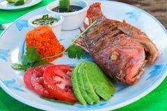 被油炸的红鲷鱼用鲕梨tomatoe米和黑黑豆 免版税库存照片