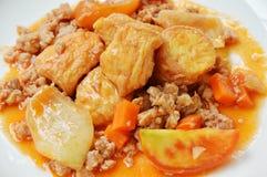 被油炸的蛋豆腐用在糖醋小汤调味汁的剁碎的猪肉在板材 库存照片