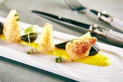 被油炸的软制乳酪用芒果调味汁 图库摄影