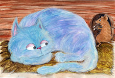 被注视的蓝色猫 库存例证