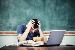 被注重的学生黑板 免版税库存图片