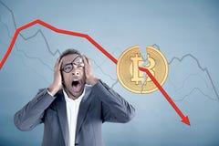 被注重的非裔美国人的人, bitcoin危机 免版税库存图片
