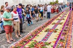 被洗染的锯木屑圣洁星期四地毯,安提瓜岛,危地马拉 免版税库存图片
