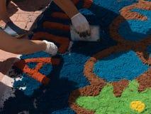 被洗染的青苔地毯的认识  库存照片