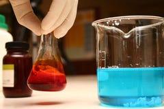 被测试的化学制品 库存图片