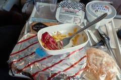 被消耗的航空公司食物 免版税图库摄影