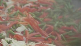 被混合的五颜六色的菜和煮沸的肉在大平底锅被搅动并且被炖 影视素材