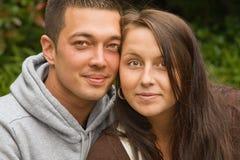 被混和的夫妇年轻人 库存照片