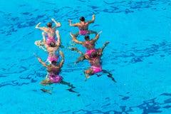 被淹没的同步的六舞蹈 图库摄影