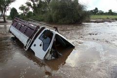 被淹没的车祸 免版税库存照片