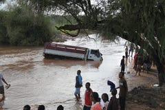 被淹没的车祸 库存图片