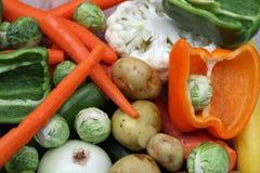 被清洗的五颜六色的新鲜蔬菜 库存照片