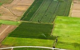 被灌溉的空中cropland 免版税图库摄影