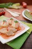 被炖的猪肉用白米和调味汁 库存图片