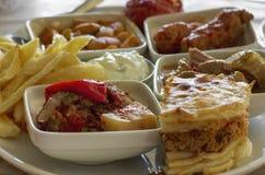 被炖的菜和肉盘侧视图 免版税库存照片