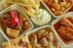 被炖的菜和肉盘顶视图 图库摄影