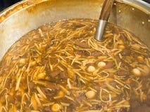 被炖的鱼鱼鳔用在罐的红色小汤汤 全部在这汤鹌鹑蛋的成份,笋,猪血立方体 库存照片