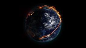 被点燃的和被遮蔽的地球上的橙色网络与与地球美国航空航天局镜象的移动的云彩  或者 皇族释放例证