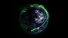 被点燃的和被遮蔽的地球上的绿色网络与与地球美国航空航天局镜象的移动的云彩  org 向量例证
