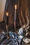 被点燃的蜡烛 库存图片