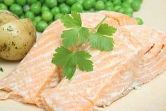 被烘烤的三文鱼蔬菜 库存照片