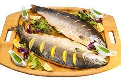 被烘烤的三文鱼 库存照片