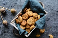 被烘烤的切达干酪薄脆饼干洒与罂粟种子 免版税库存图片